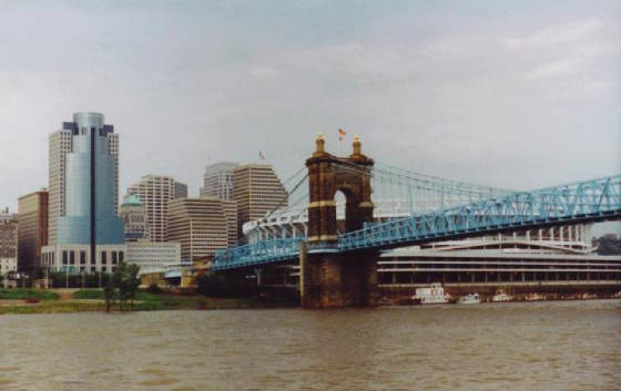 Riverfront with the Roebling Bridge in the foregro